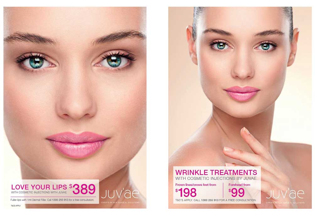 Close up of a woman's face with Anti-wrinkle prices listed - Lips enhanced for $389, wrinkle treatments $198 - $99